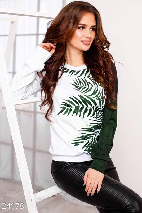 Купить Свитера / Большие размеры, Свитшот тропический принт, Свитшот(Батал)-24178, GEPUR, зелено-белый