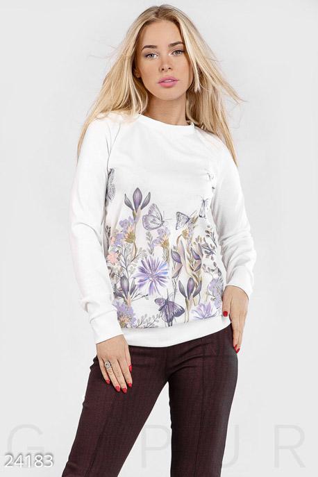 Купить Свитера / С принтом, Свитшот цветочный принт, Свитшот(Батал)-24183, GEPUR, белый