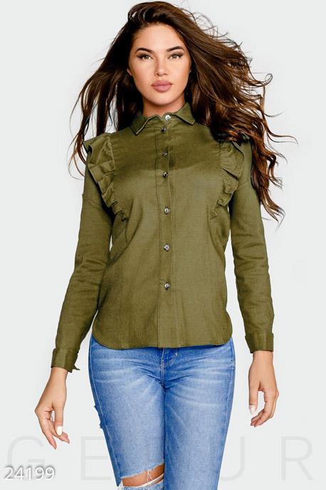 Купить Блузы, рубашки, Комфортная женская рубашка, Рубашка-24199, GEPUR, оливковый