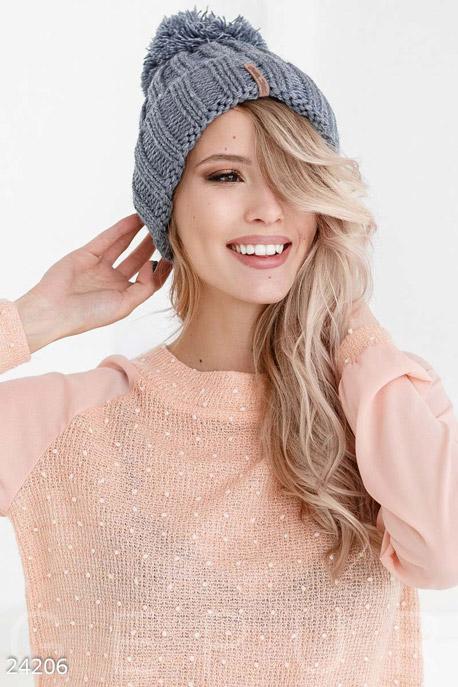 Купить Перчатки, шарфы, шапки / Шапки, Вязаная шапка помпон, Шапка-24206, GEPUR, серо-синий