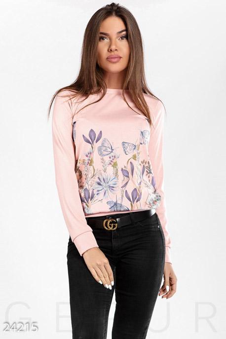 Купить Свитера / С принтом, Свитшот цветочный принт, Свитшот(Батал)-24215, GEPUR, нежно-розовый