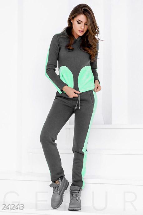 Спортивные костюмы / Со штанами, Зимний спортивный костюм, Костюм-24243, GEPUR, серо-зеленый  - купить со скидкой