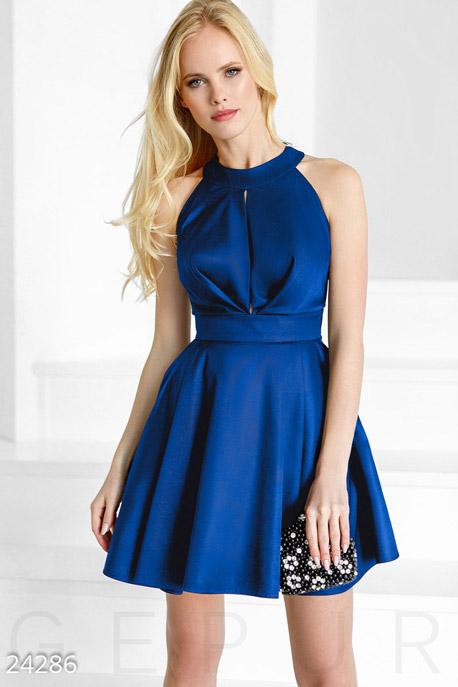 Купить Платья / Мини, Пышное монохромное платье, Платье-24286, GEPUR, синий электрик
