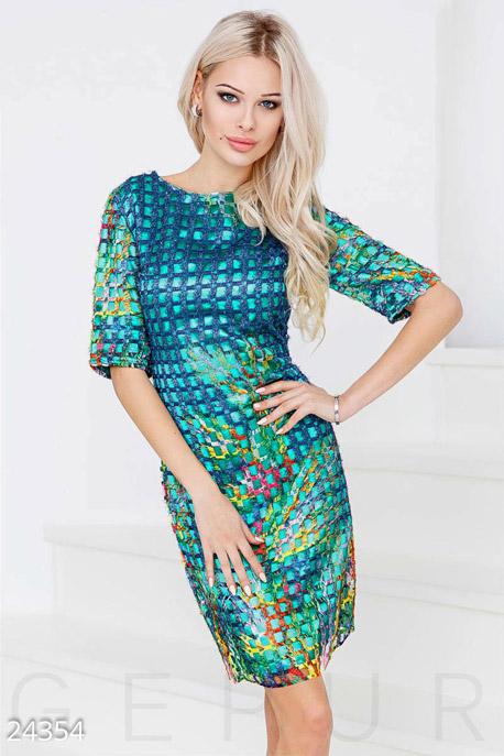 Купить Платья / Миди, Атласное платье-сетка, Платье-24354, GEPUR, ярко-зеленый