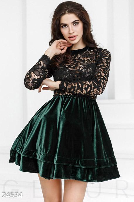 Купить Платья / Мини, Прозрачное праздничное платье, Платье-24534, GEPUR, изумрудно-черный