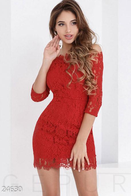 Купить Платья / Мини, Яркое гипюровое платье, Платье-24630, GEPUR, ярко-красный
