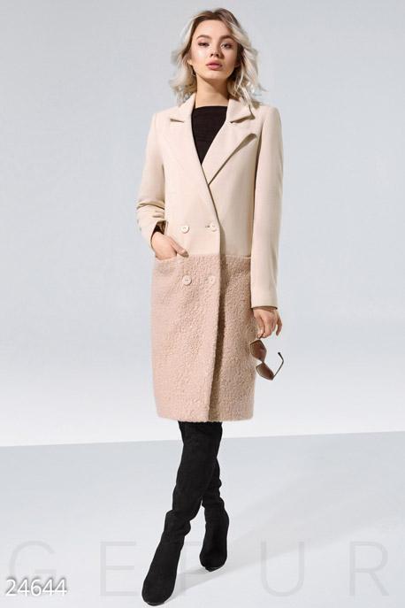 Купить Верхняя одежда / Пальто, Комбинированное женское пальто, Пальто-24644, GEPUR, бежевый