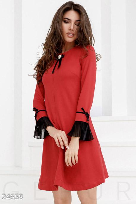 Купить Платья / Мини, Праздничное трикотажное платье, Платье-24658, GEPUR, красный