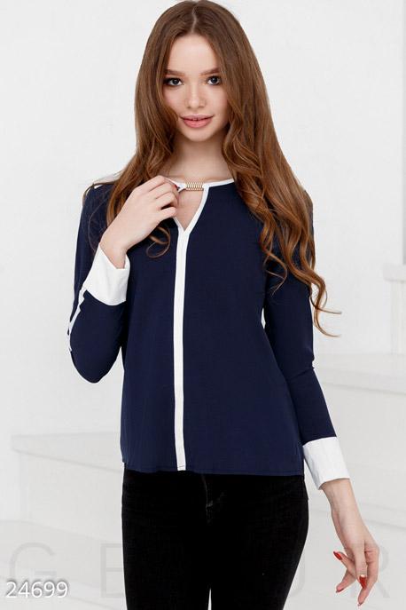 Купить Блузы, рубашки, Контрастная шифоновая блуза, Блуза-24699, GEPUR, сине-белый