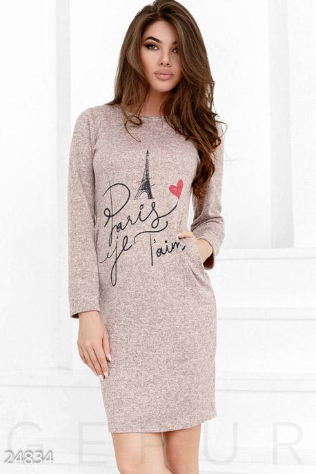 Купить Платья / Миди, Трикотажное платье Paris , Платье-24834, GEPUR, розовый меланж