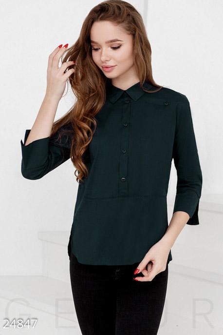Купить Блузы, рубашки, Аккуратная женская рубашка, Рубашка-24847, GEPUR, темно-зеленый
