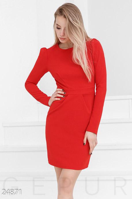 Купить Платья / Мини, Трикотажное платье-футляр, Платье-24871, GEPUR, ярко-красный