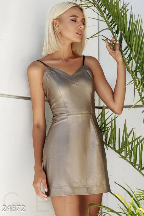 Купить Платья / Мини, Короткое кожаное платье, Платье-24872, GEPUR, золотисто-коричневый