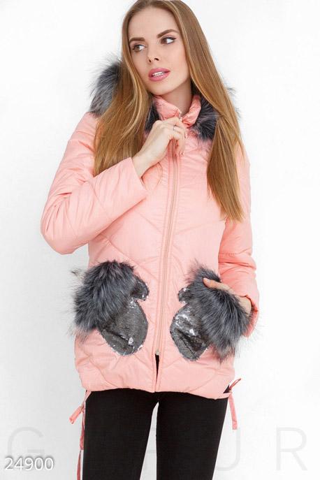 Купить Верхняя одежда / На синтепоне, Зимняя куртка пайетки, Куртка-24900, GEPUR, розово-серый