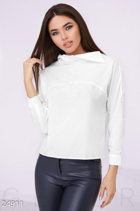 Купить Блузы, рубашки, Укороченная женская рубашка, Рубашка-24911, GEPUR, белый