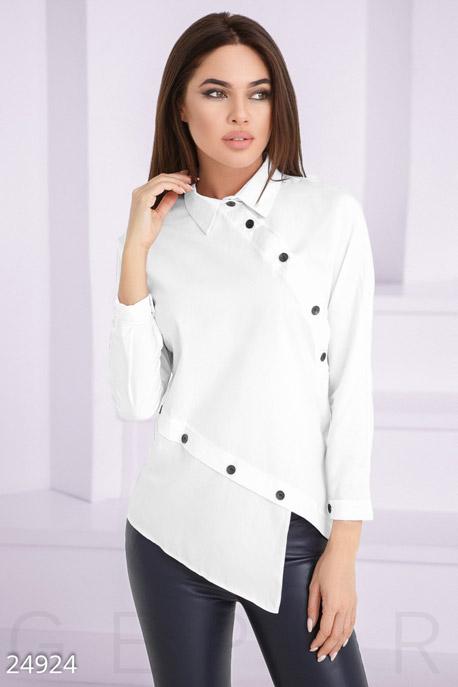Купить Блузы, рубашки, Асимметричная женская рубашка, Рубашка-24924, GEPUR, белый