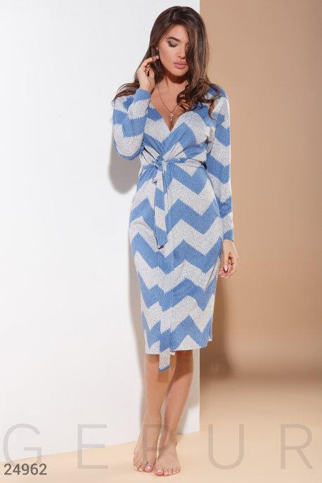 Купить Одежда для дома, Мягкий трикотажный халат, Халат-24962, GEPUR, сине-серый