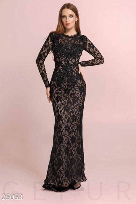 Купить Платья / На выпускной, Гипюровое платье-годе, Платье-25053, GEPUR, черный