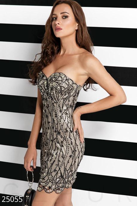 Купить Платья / На выпускной, Уникальное вечернее платье, Платье-25055, GEPUR, серо-черный