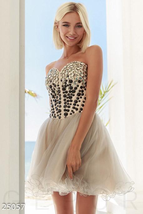 Купить Платья / На выпускной, Пышное платье-бандо, Платье-25057, GEPUR, бежевый