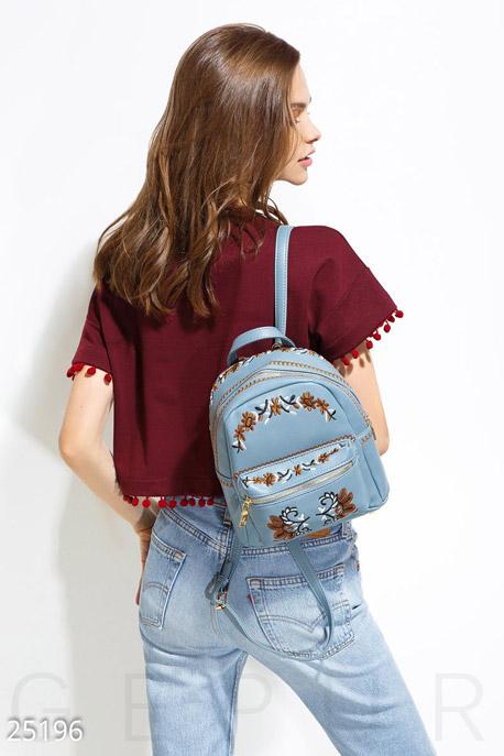 Купить Сумки, клатчи, кошельки / Рюкзаки, Небольшой рюкзак вышивка, Рюкзак-25196, GEPUR, светло-синий