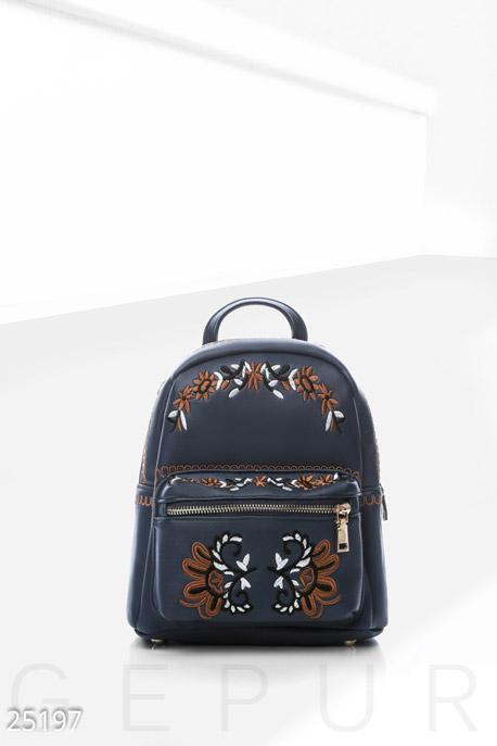 Купить Сумки, клатчи, кошельки / Рюкзаки, Небольшой рюкзак вышивка, Рюкзак-25197, GEPUR, темно-синий