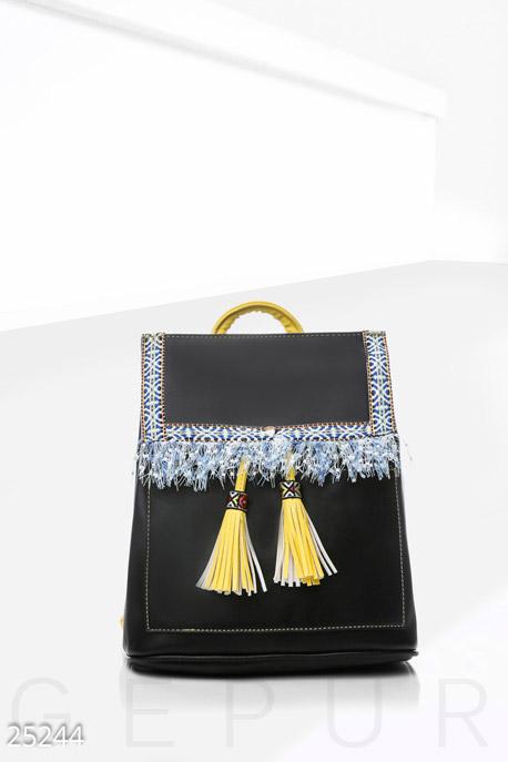 Купить Сумки, клатчи, кошельки / Рюкзаки, Кожаный рюкзак этно, Рюкзак-25244, GEPUR, черно-желтый