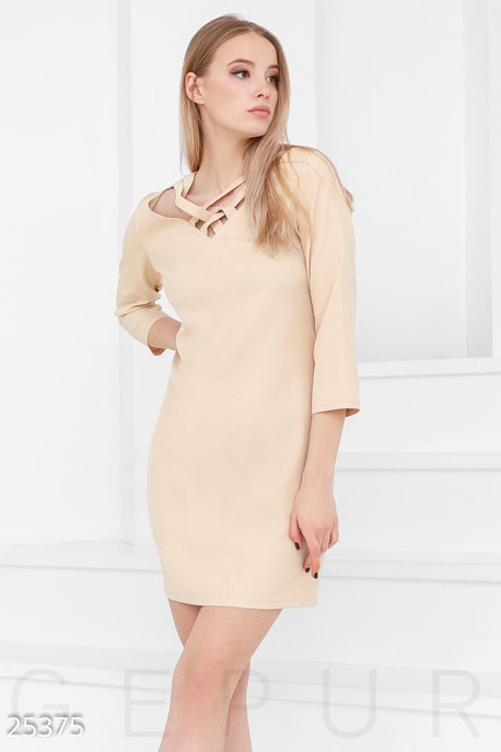 Купить Платья / Мини, Короткое монохромное платье, Платье-25375, GEPUR, бежевый