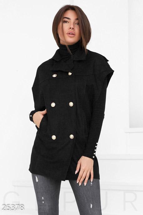 Купить Верхняя одежда / Утепленные, Двубортный шерстяной кейп, Кейп-25378, GEPUR, черный