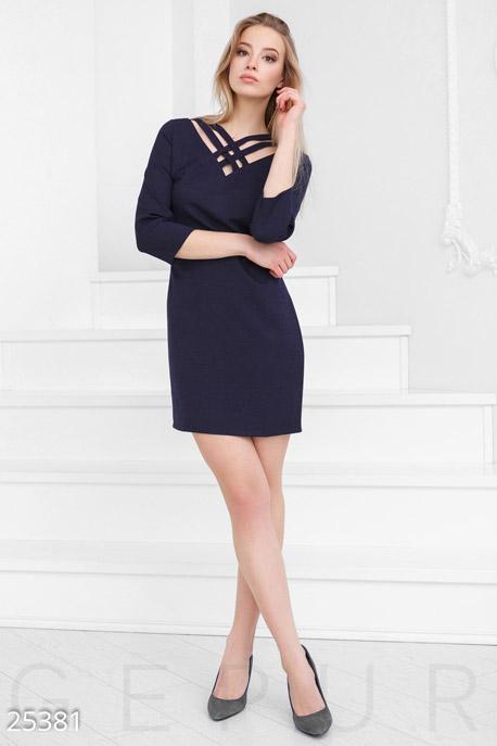 Купить Платья / Мини, Короткое монохромное платье, Платье-25381, GEPUR, темно-синий