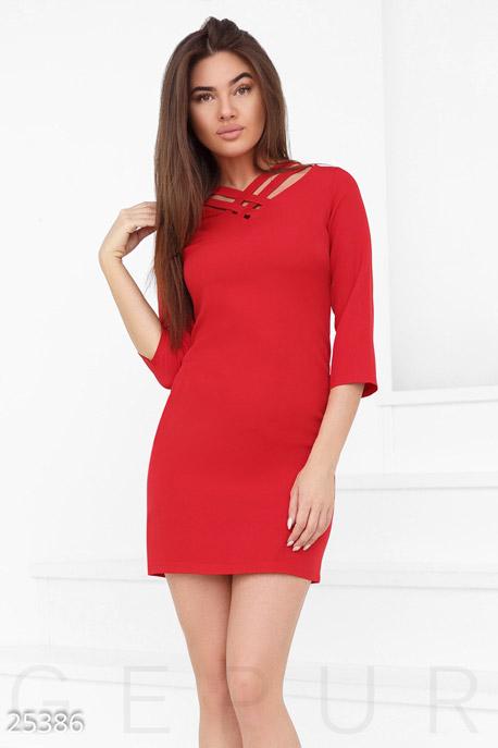 Купить Платья / Мини, Короткое монохромное платье, Платье-25386, GEPUR, ярко-красный