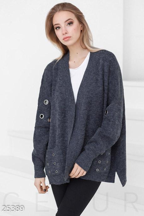 Купить Верхняя одежда / Большие размеры, Шерстяной женский кардиган, Кардиган-25389, GEPUR, темно-синий