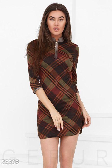 Купить Платья / Мини, Клетчатое платье-мини, Платье-25398, GEPUR, коричнево-зеленый