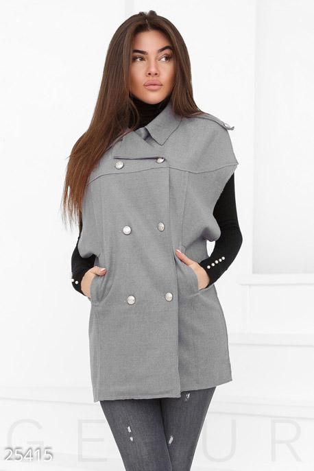 Купить Верхняя одежда / Утепленные, Двубортный шерстяной кейп, Кейп-25415, GEPUR, серый