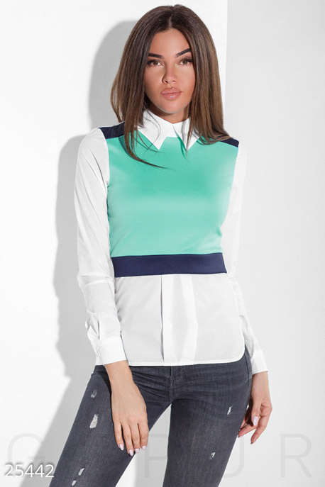 Купить Блузы, рубашки, Бенгалиновая цветная блуза, Блуза-25442, GEPUR, мятно-белый