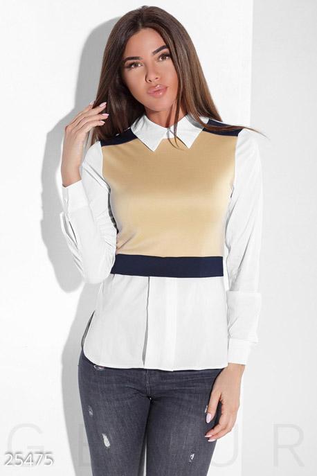 Купить Блузы, рубашки, Модная стрейчевая блуза, Блуза-25475, GEPUR, бежево-белый
