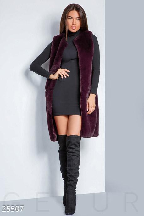 Купить Верхняя одежда / Premium, Удлиненный меховой жилет, Жилет-25507, GEPUR, сливовый