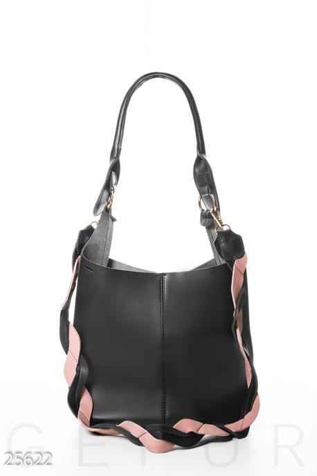 Купить Сумки, клатчи, кошельки / Сумки, Вместительная сумка-тоут, Сумка-25622, GEPUR, черно-розовый