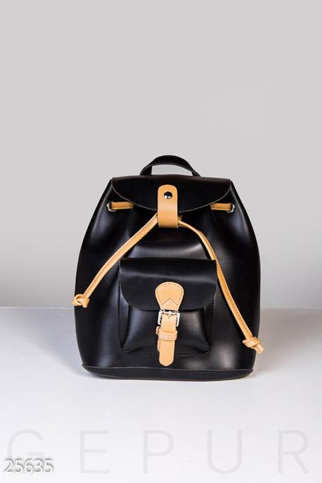 Купить Сумки, клатчи, кошельки / Рюкзаки, Контрастный кожаный рюкзак, Рюкзак-25635, GEPUR, черный