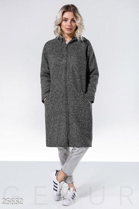 Прямое пальто-кардиган, Пальто-25652, Серый меланж