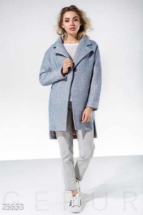 Купить Верхняя одежда / Букле, Пальто стиль boyfriend, Пальто-25653, GEPUR, светло-синий