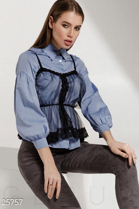 Купить Блузы, рубашки, Трендовая женская рубашка, Рубашка-25757, GEPUR, сине-черный
