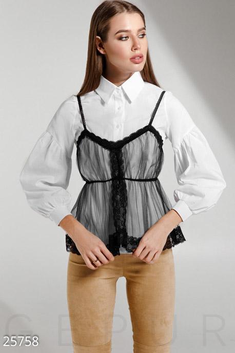 Купить Блузы, рубашки, Трендовая женская рубашка, Рубашка-25758, GEPUR, бело-черный