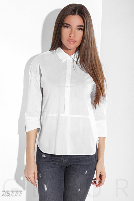 Купить Свитера / Блузы, рубашки, Аккуратная женская рубашка, Рубашка(Батал)-25777, GEPUR, белый