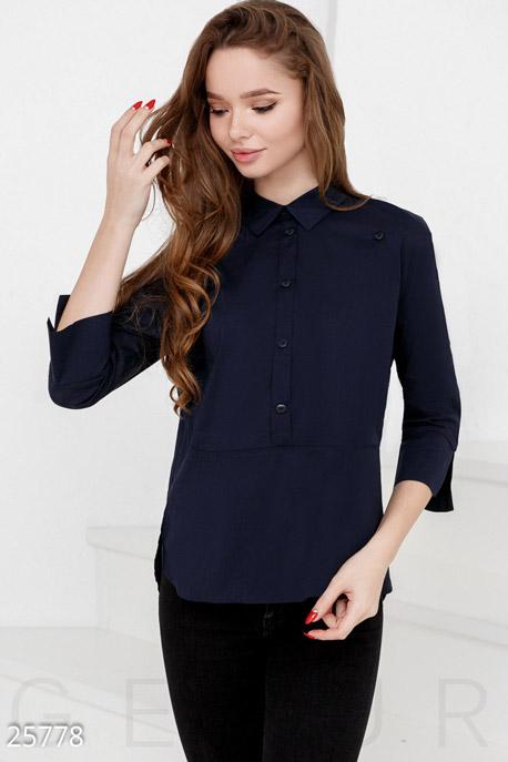 Купить Свитера / Блузы, рубашки, Аккуратная женская рубашка, Рубашка(Батал)-25778, GEPUR, темно-синий