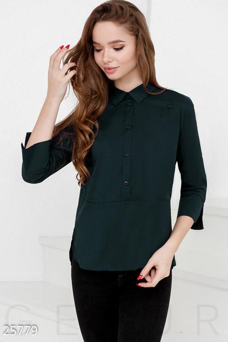 Купить Свитера / Блузы, рубашки, Аккуратная женская рубашка, Рубашка(Батал)-25779, GEPUR, темно-зеленый