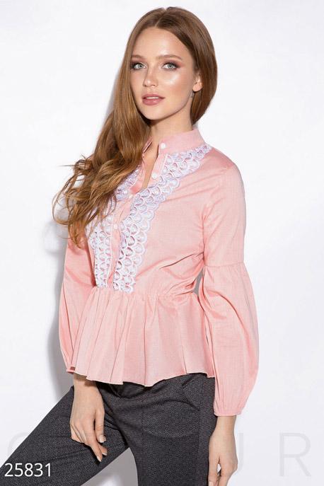 Купить Блузы, рубашки, Рубашка с кружевом, Рубашка-25831, GEPUR, розово-белый