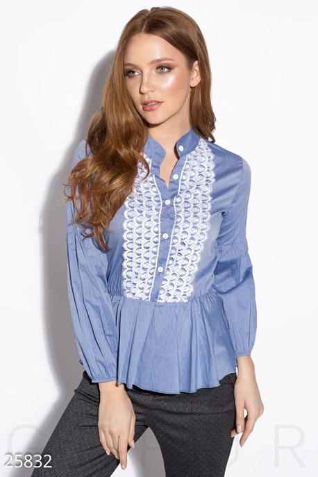 Купить Блузы, рубашки, Рубашка с кружевом, Рубашка-25832, GEPUR, сине-белый