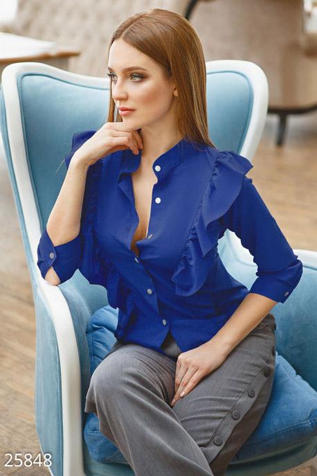 Купить Блузы, рубашки, Яркая офисная блуза, Блуза-25848, GEPUR, синий электрик