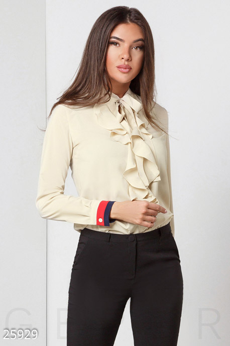 Купить Свитера / Блузы, рубашки, Женская блуза жабо, Блуза(батал)-25929, GEPUR, бежевый